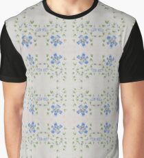 Chinese Watercolor Painted Blue Flowers Graphic T-Shirt