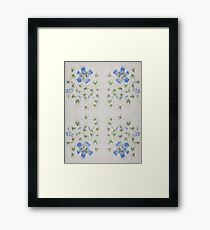 Chinese Watercolor Painted Blue Flowers Framed Print