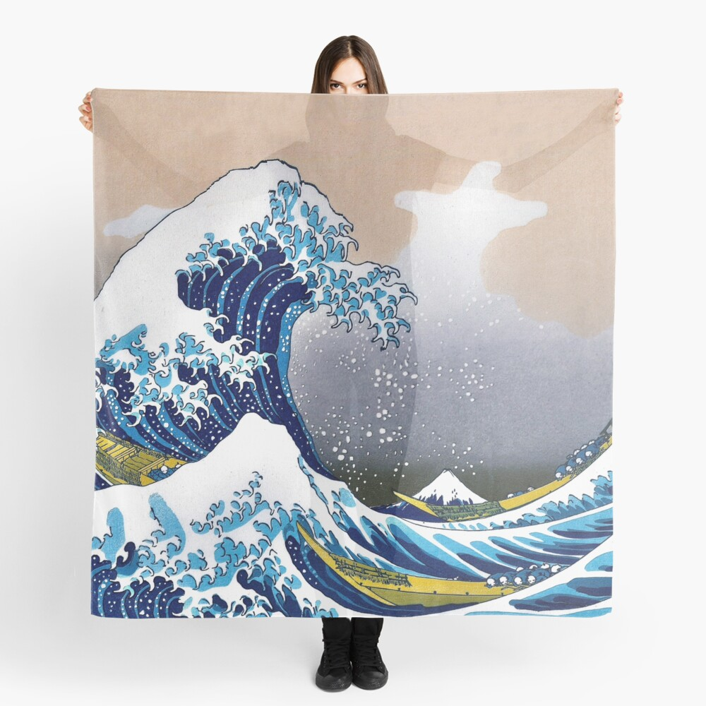 Great Wave Off Kanagawa By Hokusai Wall Tapestry Vectorized Hd