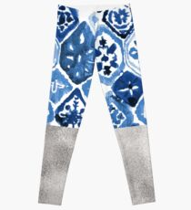 Arabesque tile art - silver graphite Leggings
