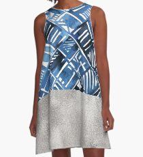 Arabesque tile art ii - silver graphite A-Line Dress