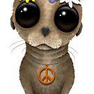 Niedlicher Baby-Seelöwe-Hippie auf Rosa von jeff bartels