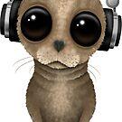 Netter Baby-Seelöwe DJ, der Kopfhörer-Rosa trägt von jeff bartels