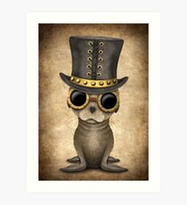 Cute Steampunk Baby Sea Lion Art Print