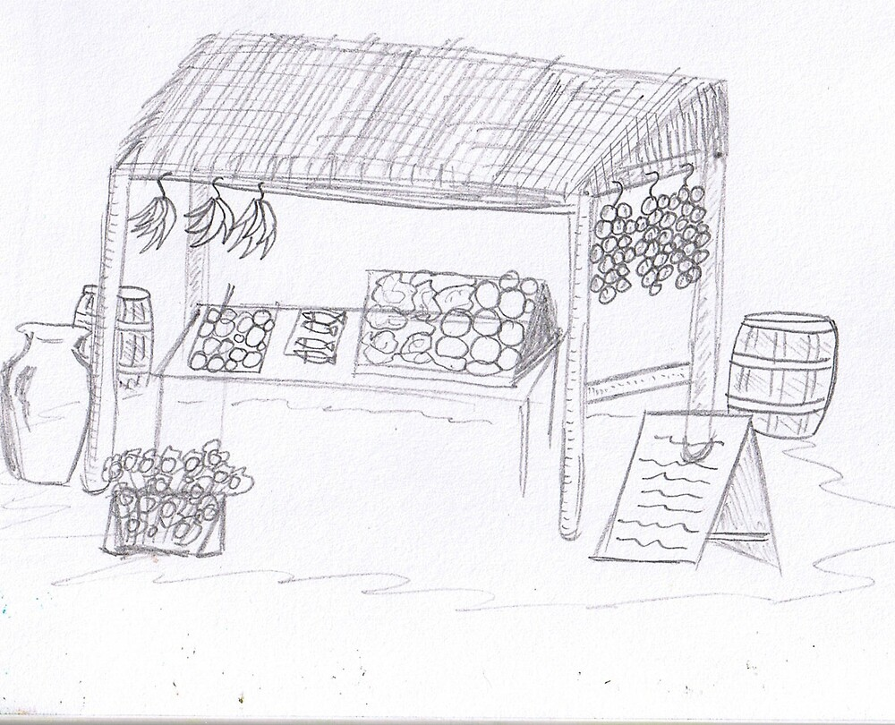 Market Stall Sketch by Paul Hill
