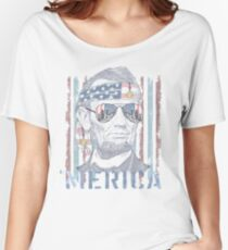 Hipster Abraham Abe Lincoln Freedom 'Merica Women's Relaxed Fit T-Shirt
