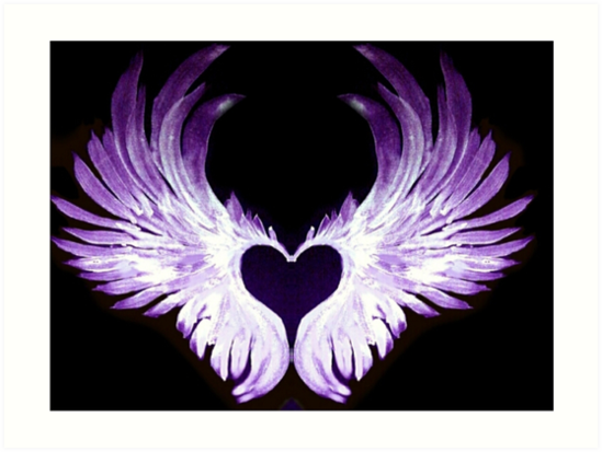Quot Purple Angel Heart Wings 2 Quot Art Prints By Atlasartsn