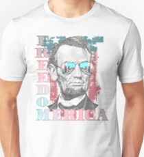Honest Abe in American Flag Sunglasses T-Shirt