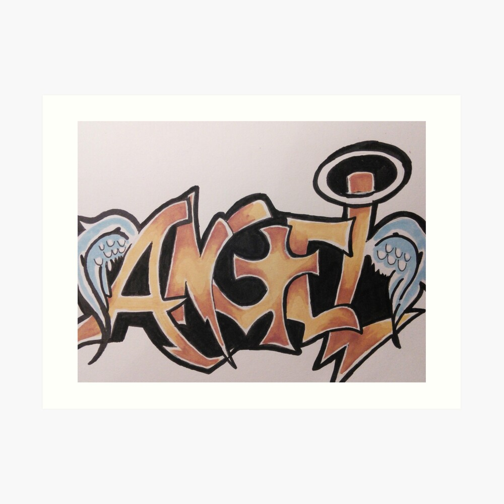 Angel graffiti design art print