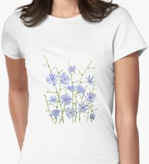 purple chicory watercolor  Women's Fitted T-Shirt