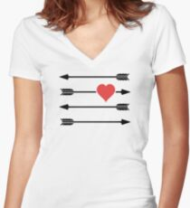Cupid's Arrow Valentine's Day Heart Women's Fitted V-Neck T-Shirt
