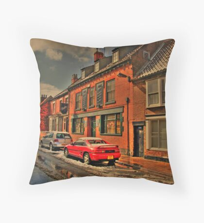 Snowy Street Scene Throw Pillow