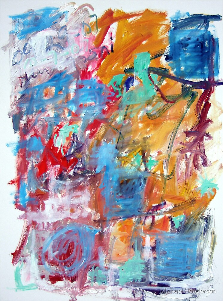 Blue and Orange Abstract by Michael Henderson