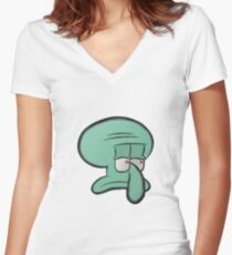 Squidward Women's Fitted V-Neck T-Shirt