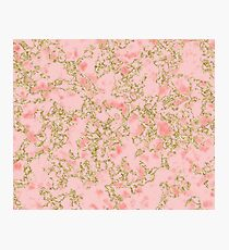 Cerise coral golden shimmer Photographic Print