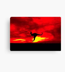 Kangaroo at Sunset with a red sky - Warrandyte State Park, Victoria Canvas Print