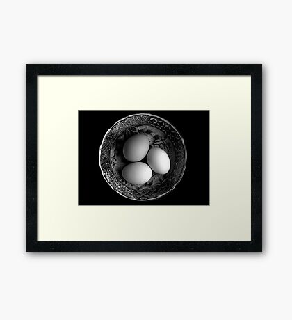 Still Life with Eggs in Black & White Framed Print