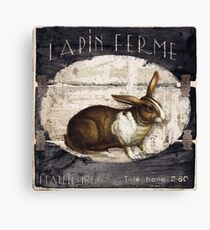 French Farm Sign Rabbit Canvas Print