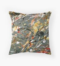 Jackson Pollock Interpretation Acrylics on Canvas Throw Pillow