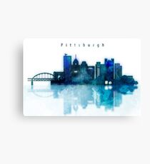 Watercolor cityscape of Pittsburgh city, Skyline in blue Canvas Print