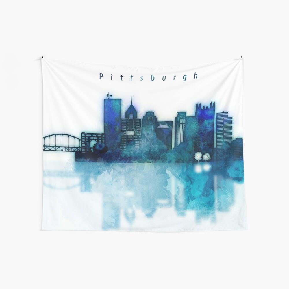 Paisaje urbano de acuarela de la ciudad de Pittsburgh, Skyline en azul Tela decorativa