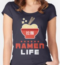 Ramen Life Kawaii Design Women's Fitted Scoop T-Shirt