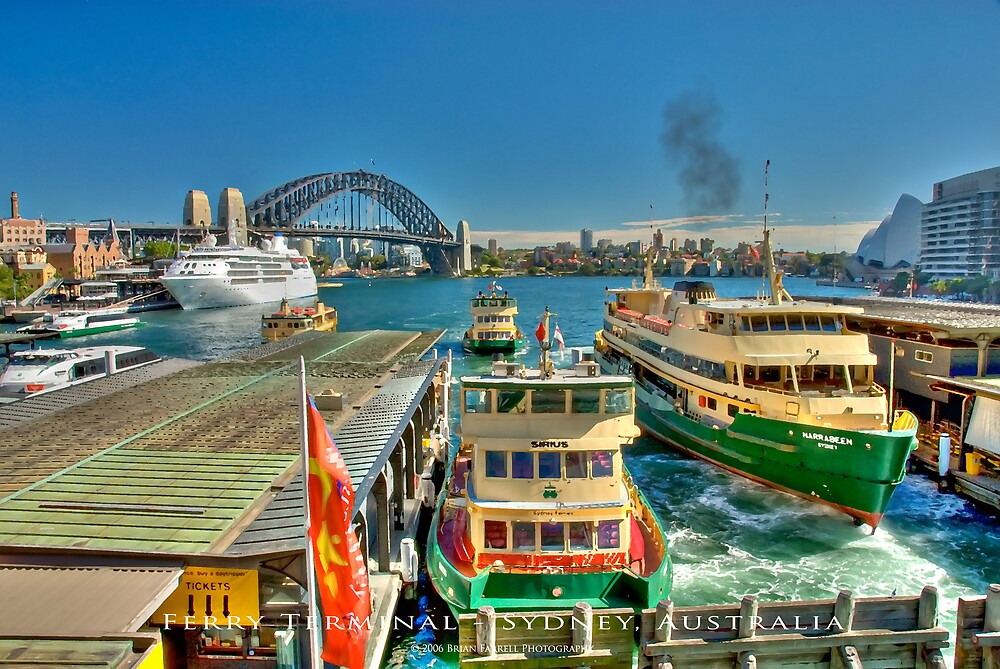 Sydney Harbour Ferry Terminal (Dry Brush Finish) by Brian Farrell