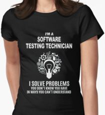 SOFTWARE TESTING TECHNICIAN - SOLVE PROBLEMS WHITE Women's Fitted T-Shirt