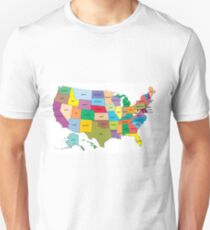 Map of the US states Unisex T-Shirt