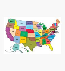 Map of the US states Photographic Print