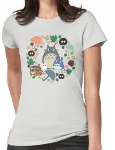 My Neighbor Totoro Wreath - Anime, Catbus, Soot Sprite, Blue Totoro, White Totoro, Mustard, Ochre, Umbrella, Manga, Hayao Miyazaki, Studio Ghibl Womens Fitted T-Shirt