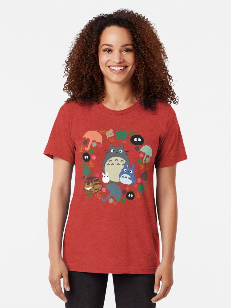 Alternative Ansicht von Mein Nachbar Totoro Kranz - Anime, Catbus, Ruß Sprite, Blau Totoro, Weiß Totoro, Senf, Ocker, Regenschirm, Manga, Hayao Miyazaki, Studio Ghibl Vintage T-Shirt