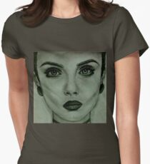 black and white Women's Fitted T-Shirt