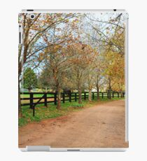 Deciduous tree lined country road in Autumn iPad Case/Skin