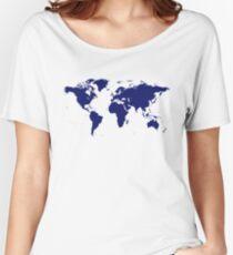 World Map Sticker Women's Relaxed Fit T-Shirt
