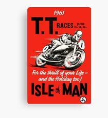 T.T. ISLE of MAN: Vintage Motorcycle Racing Print Canvas Print