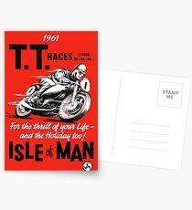TT ISLE von MAN: Vintage Motorrad Racing Print Postkarten