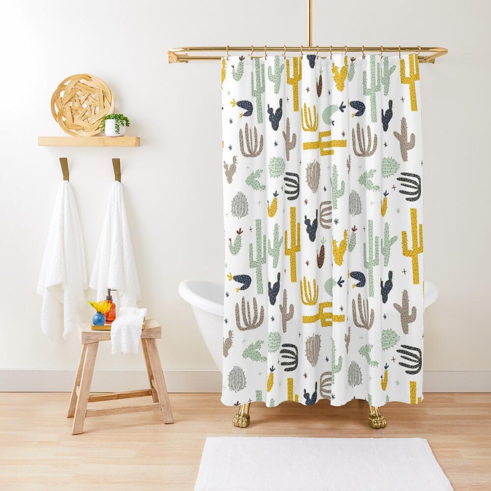 cactus - mustard navy Shower Curtain