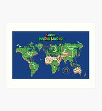 SMW Super Mario World Map Art Print