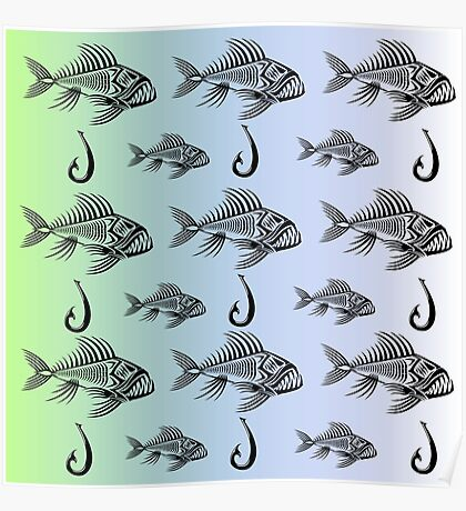 Fish and Hook Poster