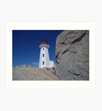 A view from down below Peggy's Cove lighthouse Art Print