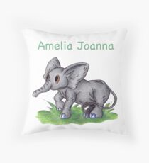 Curious Baby Elephant (Personalized) Throw Pillow