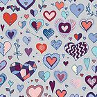 Heart pattern - Pink and Blue by Cecca-Designs