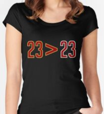 LeBron Greater Than Jordan (Black) Women's Fitted Scoop T-Shirt