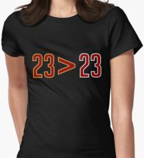 LeBron Greater Than Jordan (Black) Womens Fitted T-Shirt
