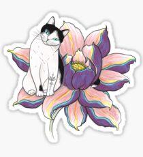 Lotus Cat Sticker