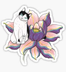 Lotus Cat Sticker