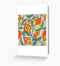tribal flowers pattern Greeting Card