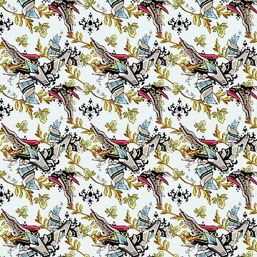 Wallpaper pattern design Floral Mecha 1 Edouard Artus by EdouardArtus