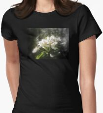 apple blossoms #3, focal black and white Women's Fitted T-Shirt
